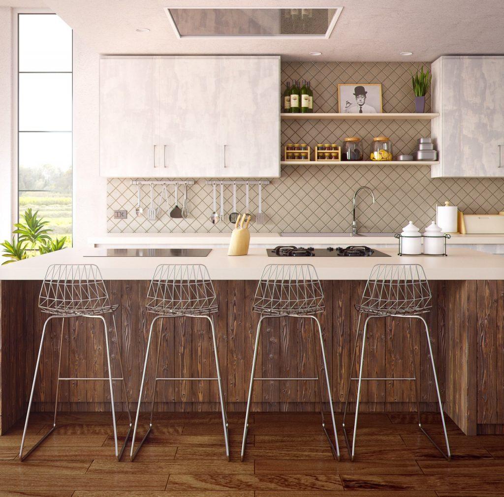 cuisine ouverte moderne avec plant de travail style bar