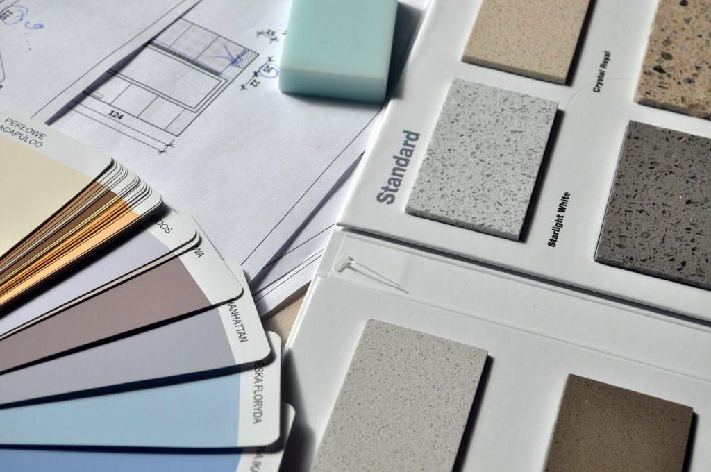 Palette de couleurs claires pour peinture carrelage et marbre