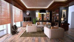 Salon avec parquet ancien, aménagé moderne