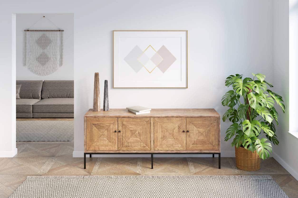 salon cadre en bois