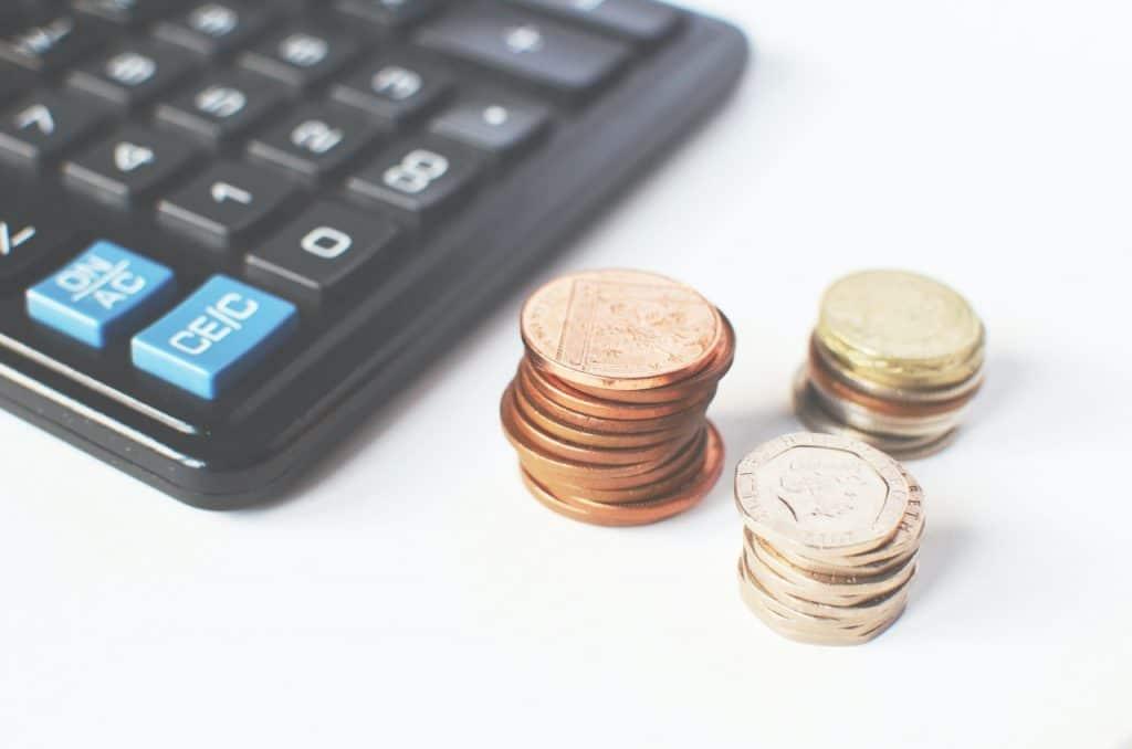 Calculette, prix, monnaie argent